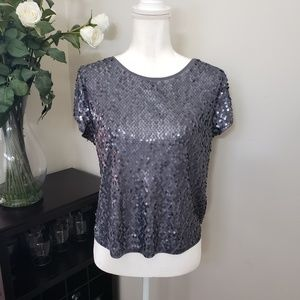 Express Vintage Sequin Slouchy High Low Drape Top